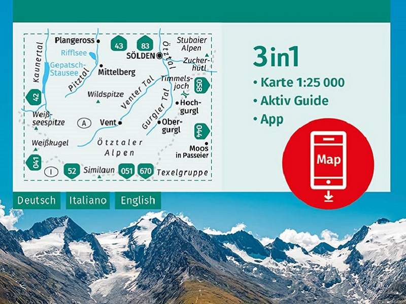 Kompass Karte 042, Inneres Ötztal und Pitztal, Gurgler Tal, Venter Tal