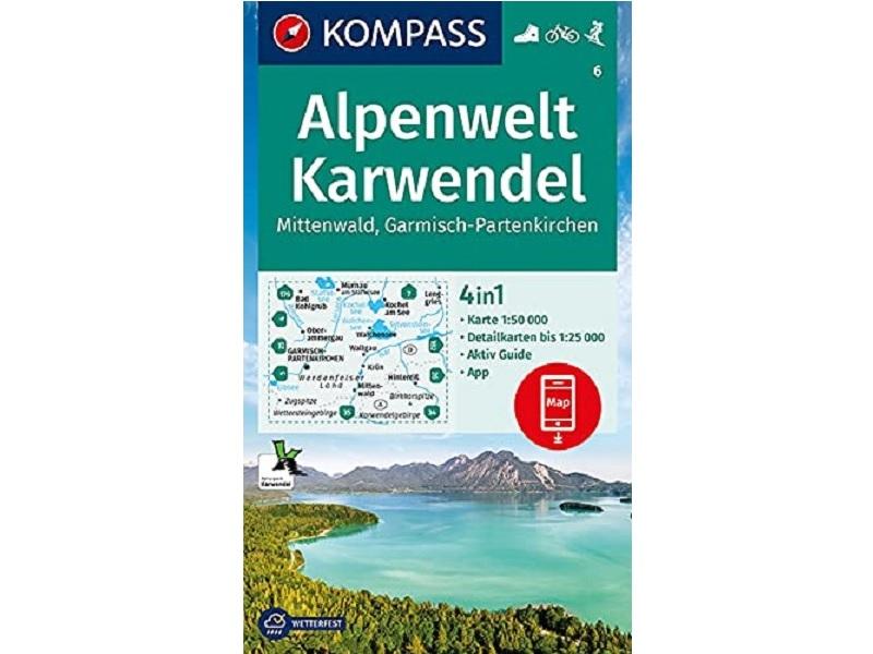 KOMPASS Karte 6, Alpenwelt Karwendel Mittenwald, Garmisch-Partenkirchen