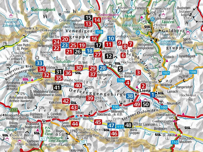 Osttirol Karte mit Wanderungen