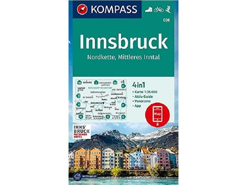 Kompass Verlag Karte, Band 036, Innsbruck, Nordkette, Mittleres Inntal