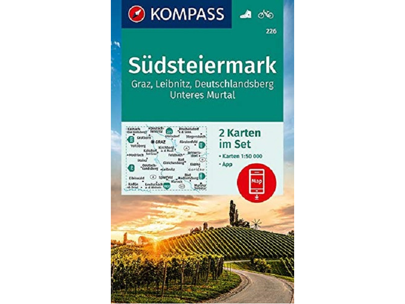 KOMPASS Verlag Karte Band 226, Südsteiermark, Graz, Leibnitz, Deutschlandsberg, Unteres Murtal