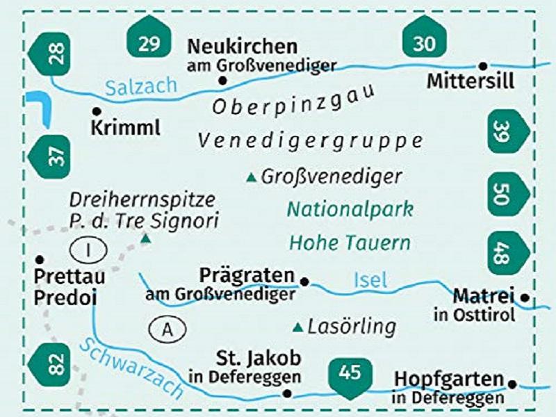 Kompass Wanderkarte, Band 38, Venedigergruppe; Oberpinzgau