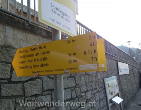 Wegweiser Wanderweg Nibelungengau in Sarmingstein