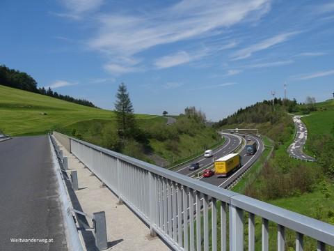 Südautobahn A2 zwischen Schlag und Mönichkirchen