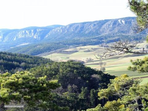 Ausblick aus den Fischauer Bergen in Niederösterreich auf die Hohe Wand
