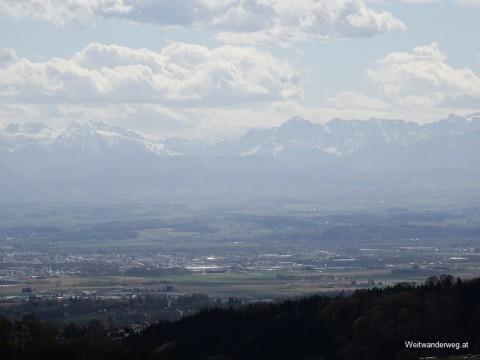 Ausblick bei Lichtenberg, Linz, zum Alpenhauptkamm im Süden