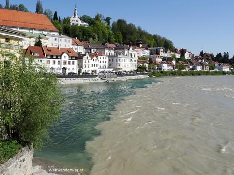 Die Enns in der Stadt Steyr, Oberösterreich