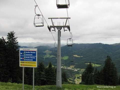 Ötscherlift bei der Bergstation beim Ötscher Schutzhaus.