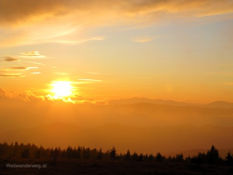 Sonnenuntergang auf dem Hochwechsel