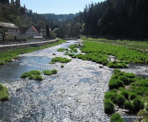 Fluß Thaya bei Kollmitzgraben und Burg Kollmitz.