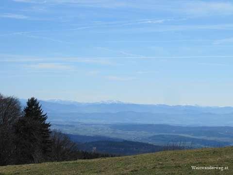 Ausblick vom Jauerling Richtung Süden zum Alpenhauptkamm