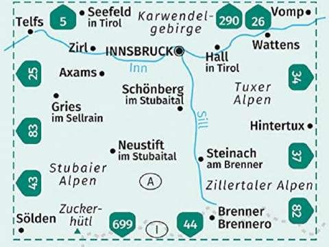 Kompass Karte, Band 36, Innsbruck, Brenner