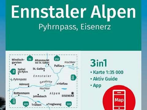 Kompass Wanderkarte, Band 69, Gesäuse, Ennstaler Alpen, Pyhrnpass, Eisenerz
