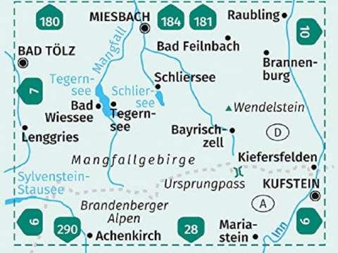 KOMPASS Karte 8, Tegernsee, Schliersee, Wendelstein