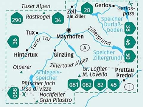KOMPASS Karte Band 37, Mayrhofen, Tuxer Tal, Zillergrund