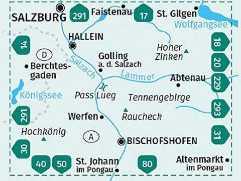 Kompass Karte Tennengebirge, Hochkönig, Hallein, Bischofshofen