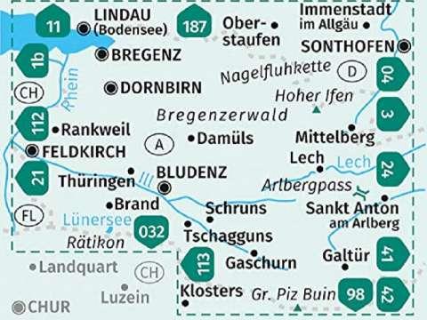 Kompass Karte Vorarlberg mit Fluss Ill