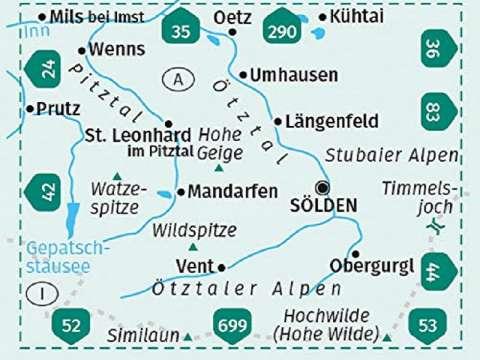 Verlag KOMPASS Karte, Band 43, Ötztaler Alpen, Ötztal, Pitztal