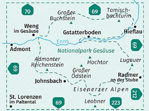 Kompass Wanderkarte, Band 206,  Nationalpark Gesäuse